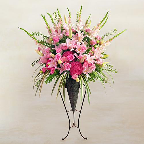 スタンド花バスケットスタイル(ピンクの色調)